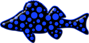 Polka Dot Perch website Icon is a black perch with blue polka dots